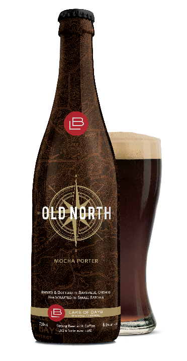 Old North Mocha Porter bottle, covered in old map and glass of dark beer