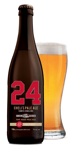 Chris Chelios Oak Aged Amber Lager: bottle and glass