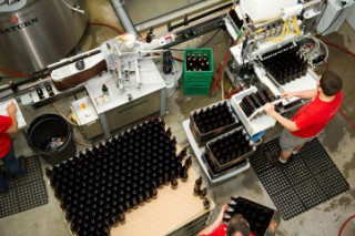 A bird's eye view of the bottling and labelling process.