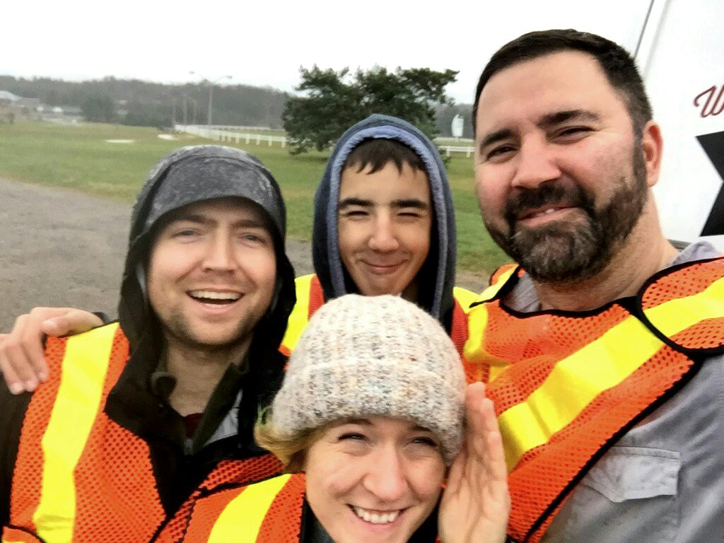 (L-R) Darren, Colton, Sarah and Mitch after a wet and windy highway cleanup.