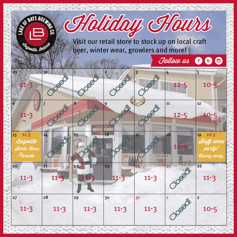 Holiday hours at the Retail Store