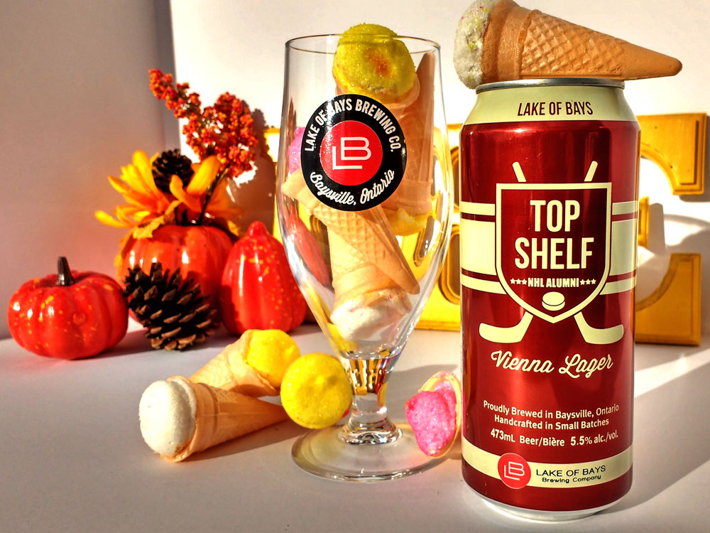 Top Shelf can beside an LB glass filled with Marshmallow Cones