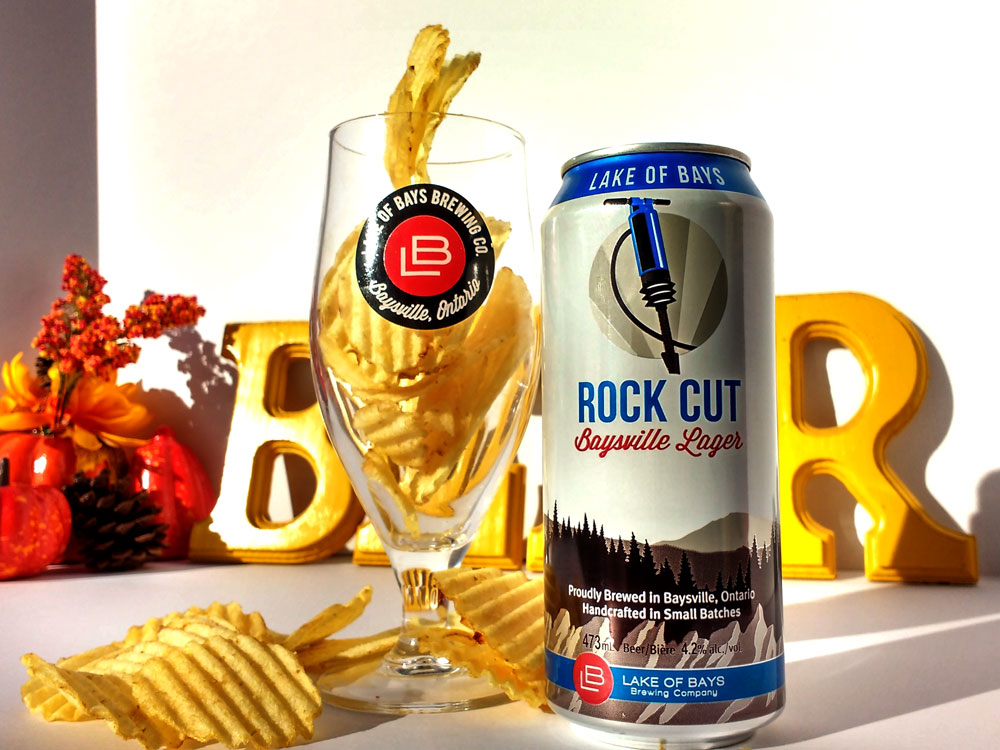Rock Cut can beside an LB glass filled with original ruffle potato chips
