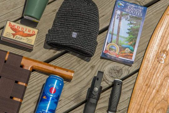 Canoe bench, matches, toque, oxtongue, binoculars, map paddle