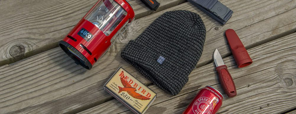 Coffee Maker, Toque, Firebird matches, Spark House Red Ale, Knife...