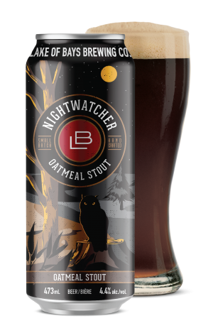 Nightwatcher Oatmeal Stout Can and Glass